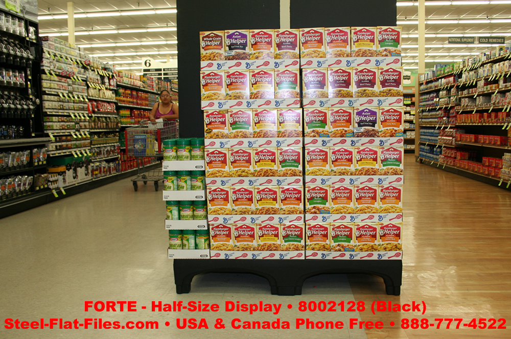 Forte half size display- the perfect tool to build a stack of boxes in your supermarket or big box store.