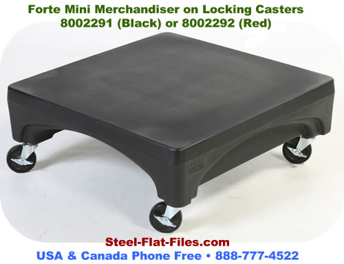 Forte Mini Merchandiser travels where it's needed- it's on rolling casters.