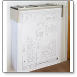 The drop lift wall rack contains plans, blueprints and large documents and keeps them securely at the ready.