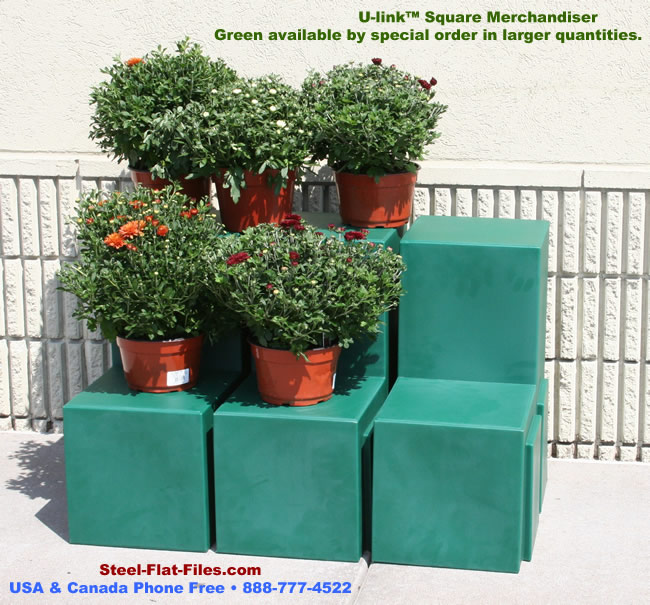 Forte square merchandiser for stepped-height floral displays.