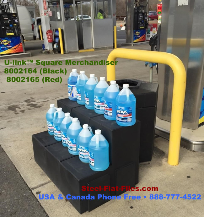 Forte merchandiser works in any kind of weather at gas stations and outdoor venues.