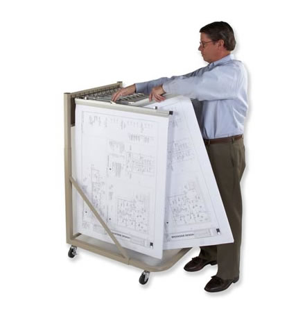 Mobile racks for large documents, plans & blueprints.