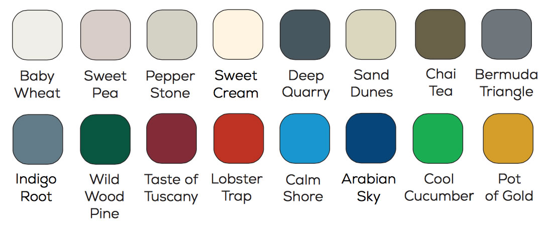 Safco custom order colors chart.